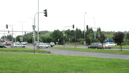 panorama of intersection (junction) - road with cars and traffic light Footage