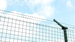 barbed wire fence - blue sky Footage