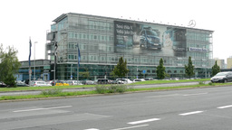 headquarter of Mercedes Benz with road Footage