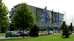 headquarter of Mercedes Benz with nature Footage