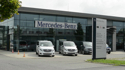 headquarter of Mercedes Benz with cars Footage
