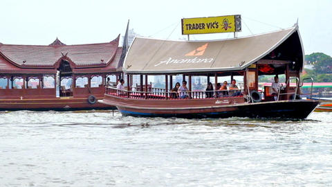 Tourists Enjoying Bangkok Cityscape During River Cruise. Thailand stock footage