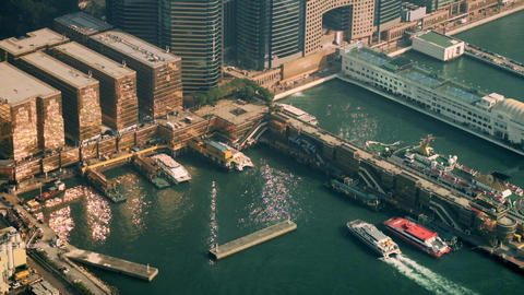 Aerial panorama view of Hong Kong Island with port terminal Footage