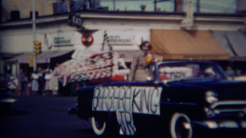 1952: Homecoming queens for each high school class grade parade floats Footage