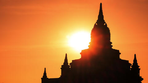 Time lapse of sunrise over ancient Buddhist Temple silhouette at Bagan. Burma Footage