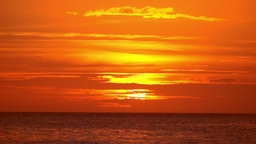 Amazing orange colors of tropical sunset. Ocean horizon at Boracay, Philippines Footage