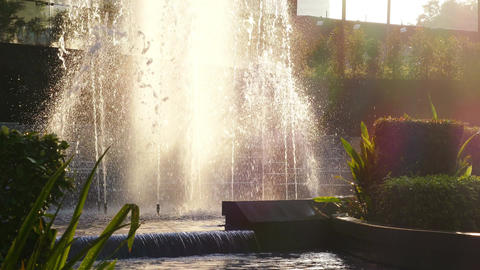 Fountains Landscaping Architectural Details City 4k Footage