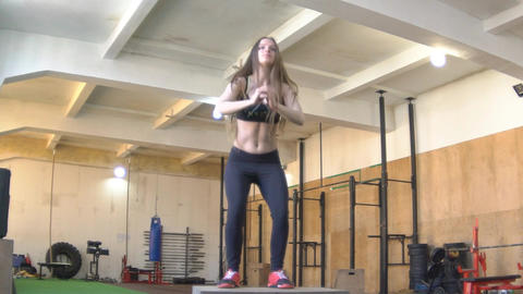Slow Motion Fitness Woman Doing Box Jumps Footage