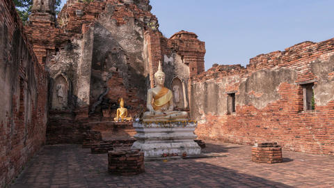 Ayutthaya Thailand Buddha Time Lapse Zoom 4k Animation