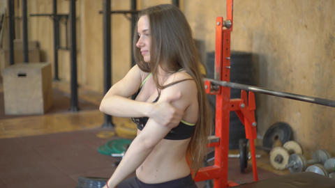 Sexy Girl Doing Exercise With Barbell Footage
