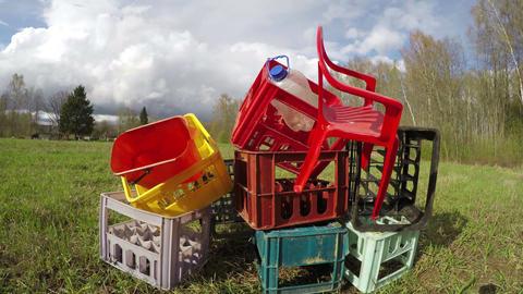 Plastic rubbish heap, time lapse 4K Live Action