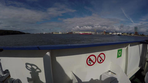 View shot out of the boat passenger ferry, 4K Footage