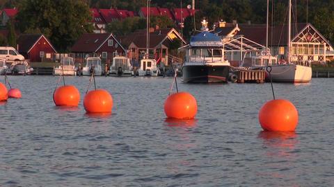 Orange buoys in the harbor Footage