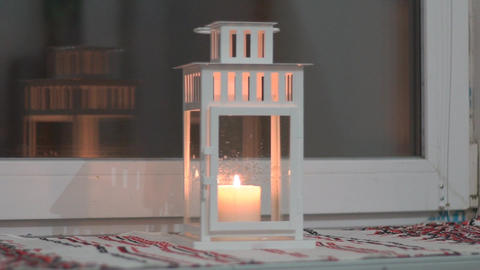 Slow Motion Burning Candles In Candlestick