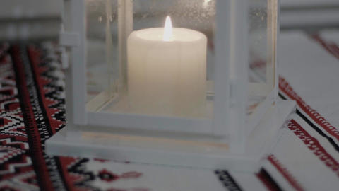 Slow Motion Heat Candle Burning In A Candlestick Stock Video Footage
