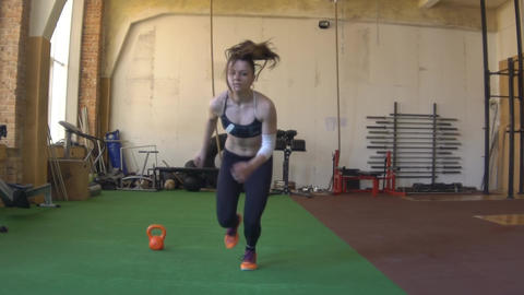 Female Sprints. Fitness Training, Gymnastics. Crossfit Footage