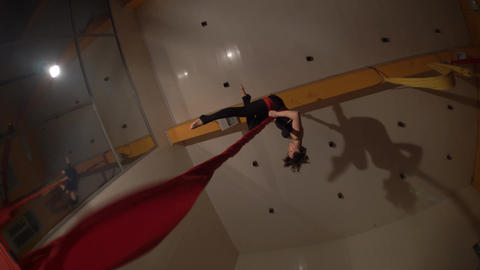 Woman Performing On Aerial Silk Footage