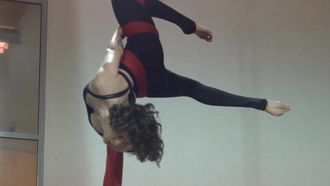 Slow Motion Woman Wrapping Aerial Silk Footage