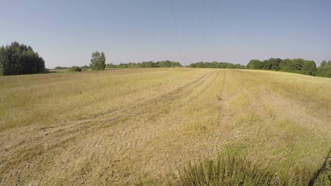 ractor plowing field on sunny autumn's day, time lapse 4K Footage