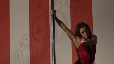 Slow Motion Girl Dancing On A Pole, Dancer, Fitness And Sport. Pole Dance Footage