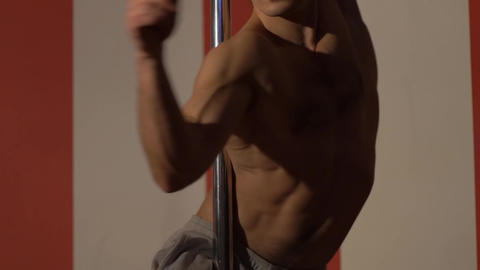 Muscles Young Naked Man. Young Man Dancer. Pole Dance Live Action