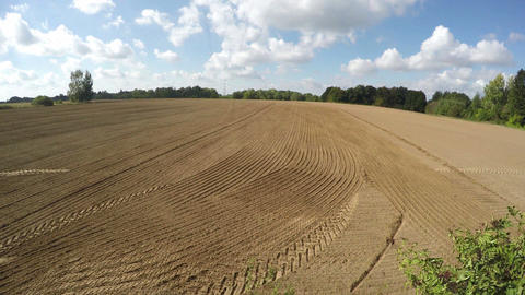 Tractor sowing in the field on sunny autumn's day, time lapse 4K Footage
