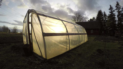 Polyethylene greenhouse in autumn, time lapse 4K Footage