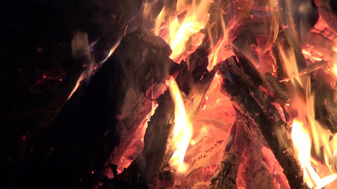 Bonfire burning in the deep snow in evening Footage