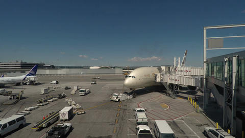 New York, USA Etihad Airways Airbus A380-800 on JFK airport Footage