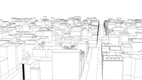 Flying above the dirty sketched city on white Able to loop seamless Archivo