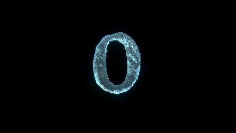 The Number 0 Of Ice Isolated On Black With Alpha Matte Stock Video Footage