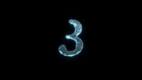 The Number 3 Of Ice Isolated On Black With Alpha Matte Stock Video Footage