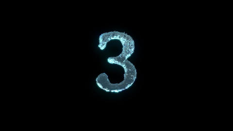 The Number 3 Of Ice Isolated On Black With Alpha Matte Animation