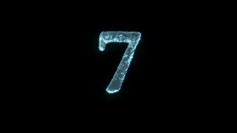 The Number 7 Of Ice Isolated On Black With Alpha Matte Animation