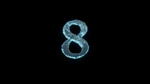 The Number 8 Of Ice Isolated On Black With Alpha Matte Animation