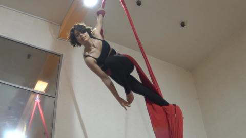 Slow Motion Woman Dancer On Aerial Silk, Aerial Contortion, Aerial Ribbons, Aeri Footage
