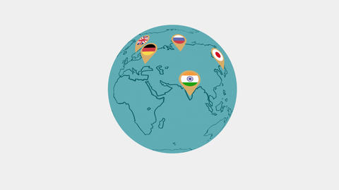 World map flat shape animation GIF