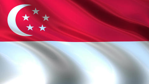 Flag of Singapore waving in the wind. Seamless looping. 3d generated ビデオ