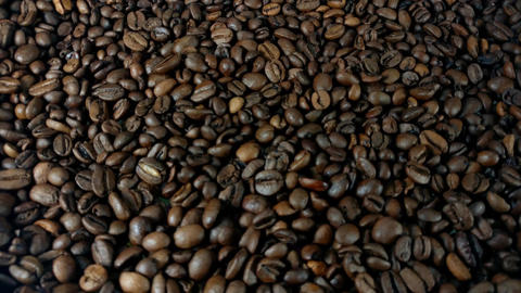 Rotating Roasted Brown Coffee Beans Footage
