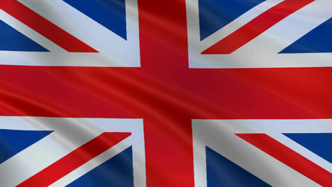 Flag of England waving in the wind Animación