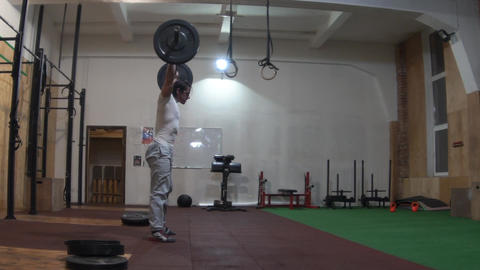Slow Motion Crossfit Workout Lifting Weights Footage