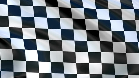 Checkered flag flying in the wind, in the sport to the finish Animation