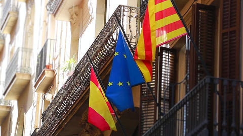 Flags Of European Union And Catalonia Image