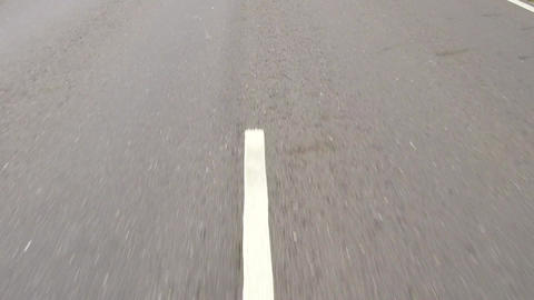 closeup and Running lane mark of road Footage
