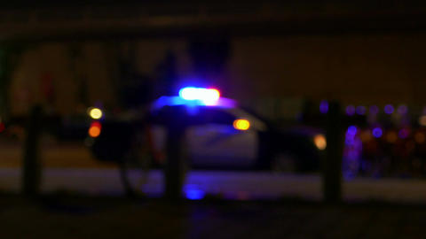 Defocused police car with sirens flashing LS 1 Live影片