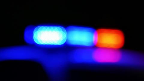 Police car siren flashing defoscused Closeup 1 Live影片