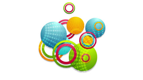 Abstract colorful circles and rings video animation Animation