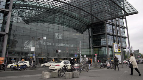 Berlin Main Train Station Outside Front Entrance Live Action
