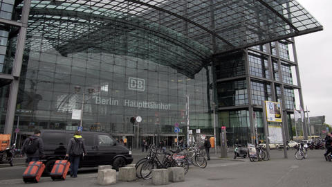 Berlin Main Train Station Outside Front Entrance Timelapse Footage
