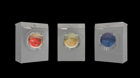 Washing machines with alpha channel CG動画素材